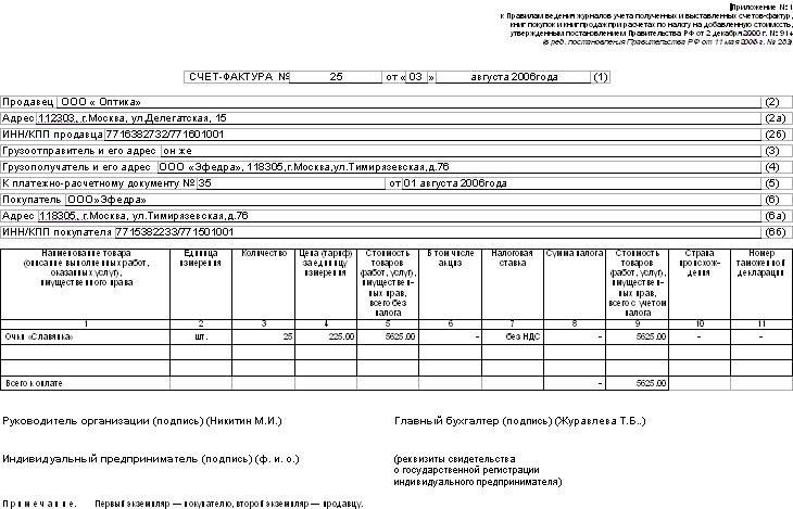 счёт фактура на аренду помещения образец