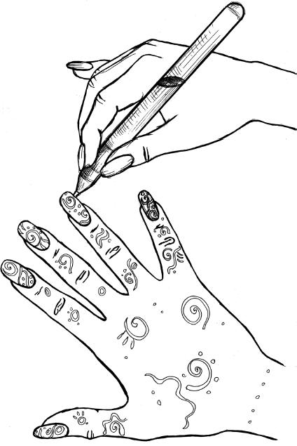 Фото рисунков на ногтях гелевой ручкой 19