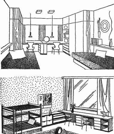 как нарисовать дом с кроватью