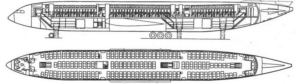 Компоновка салона Ил-86