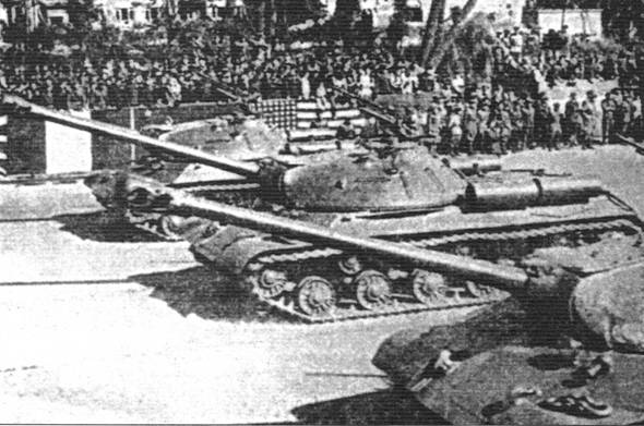 Tanks IS-3 71-th guards heavy tank regiment at a joint military parade in Berlin in honor of the victory. September 1945